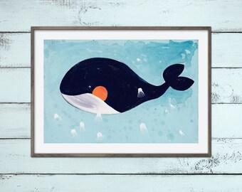 Super süßer Wal mit Quallen - Print Poster Kinderzimmer Deko - Kinder Baby Bad Einrichtung