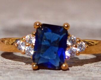 WEDDING RING - Blue Sapphire Wedding Ring / Engagement Ring