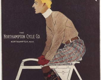 Vintage Poster Man On Bike The Northampton Advertising Home Decor Wall Decor Giclee Art Print Poster A4 A3 A2 Large Print FLAT RATE SHIPPING