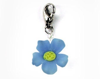 2 Tiny Forget Me Not, Polymer Clay Flowers Jewelry Handmade gifts Charm, 2 pieces