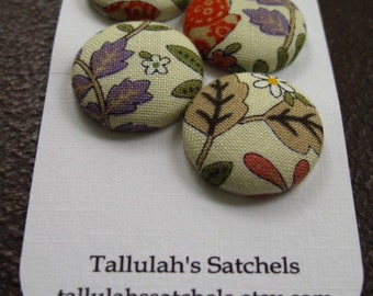 25% off SALEWearable Sew On Fabric Covered Buttons - Size 36  7/8 inches Fall Flowers and Leaves