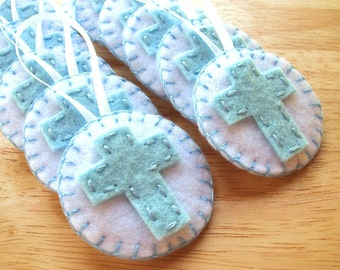 10 Baby boy baptism favors, christening favors, christian decorations, baby shower, first communion blue cross ornaments felt cross