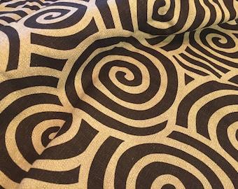 1 yard - Nubby Canvas Circles - brown and natural