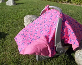 Baby Car Seat Canopy For Girls  -  Nautical Anchors