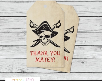 Pirate Favor Tags - PirateThank You Tags - Pirate Birthday Favor Tags - Printable Favor Tags - Party Favor Tag - Pirate Birthday Favor