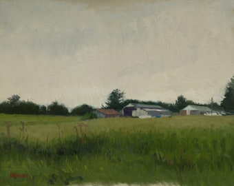 Oil painting landscape - Overcast Farm