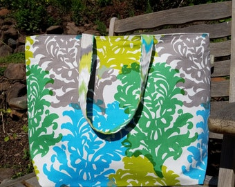 NEW!!! XL Green, sky blue and grey canvas tote. Market tote, Knitting project tote, Floral beach bag. Reversible tote bag. Canvas tote