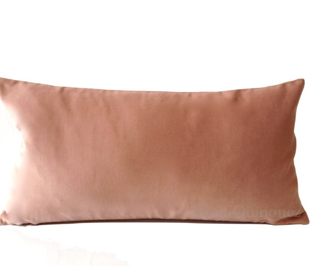 Rose Pink Cotton Velvet Pillow Cover - Decorative Accent Bolster Pillows -Invisible Zipper Closure -Knife Or Piping Edge -16x16 to 26x26