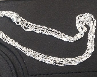 1 - 24 inch silver plated Twist chain, long chain,shiny necklace beads, polished chain, lobster claw clasp - FAST SHIPPING