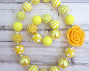 Yellow Baby Chunky Necklace, Baby Necklace Set, Toddler Chunky Bead Necklace, Girl Necklace Set, Girl Jewelry, Children Necklace
