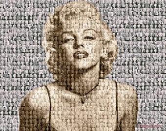 Marilyn Monroe Photo Mosaic Print Art designed using photo images of Marilyn
