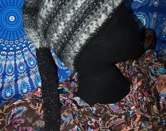 hand crochet long noddy slouch beanie warm and fun for festivals 64cm long!!