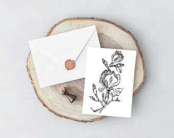 Hand Drawn Magnolia Flower Card