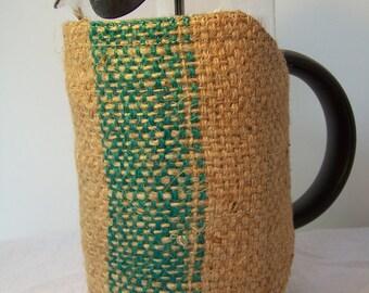 French press cozy, Coffee Sack Burlap,  Bodum cozy sleeve,  Press pot cozie