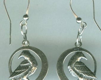 Sterling Silver RAVEN Earrings - 3D - Bird, Crow, Totem