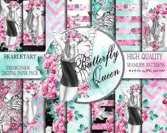 Butterfly Digital Paper Pack Fairy Backgraund Watercolor Flowers Pink Peony Skrapbooking Supplies
