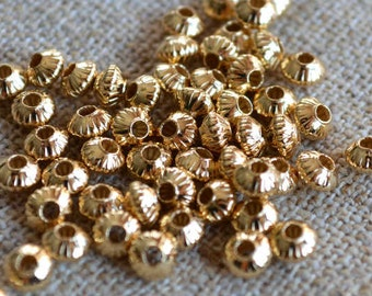 100pcs Metal Bead Gold Plated Brass 5x3mm Corrugated Saucer