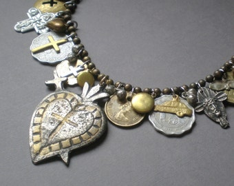 Abundance.. Milagro Heart Statement Necklace..  Artisan Hand Made Collage. Ex Voto .Peru Mexico. Blessing Necklace. Frida Kahlo