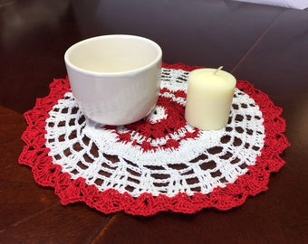 Red and White  Peppermint  Coffee Table Doily