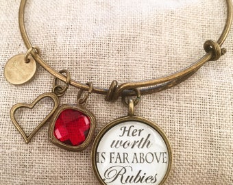 Her worth is far above rubies Proverbs 31:10 Bangle