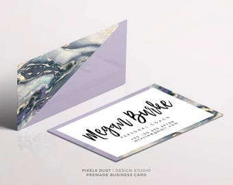 Premade Business Card Template, Business Card Design, Purple, Marble, Modern, Business Card Template, Customizable, Business Card Layouts
