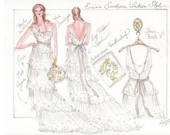 Bride Portrait Illustration, Wedding Gown Sketch, Bridal Gown Sketch, Paper Anniversary Gift, Wedding Gown Illustration, Bridal Illustration