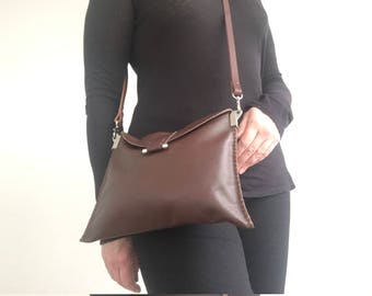 SALE! Handmade in UK medium size light weight mid rich brown soft slouchy leather foldover crossbody bag handbag