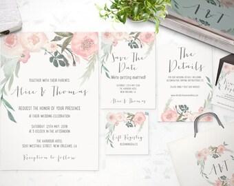 Floral Wedding Invitation Suite   Spring Floral Watercolor Wedding  Invitation Set   Printable Wedding Invites   DIY Wedding Invitation Set