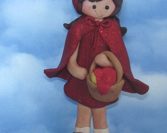 Polymer Clay Milestone Christmas Ornament Cake Topper  Red Riding Hood  Basket Cape