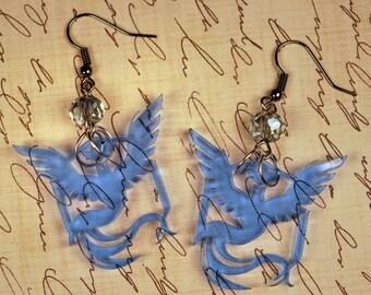Dangling Go Team Mystic Earrings with Light Blue Crystal Laser Cut Acrylic