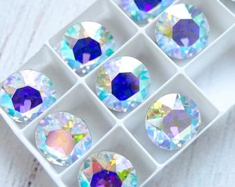 13 mm, Black Diamond, ss55 Swarovski Crystal Big Chaton 1088 Iridenscent Green