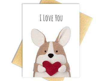 "Corgi Card ""I Love You"" Greeting Card - 100% PCW Recycled Paper, A2 — Blank Inside"
