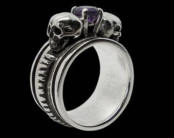 Skull engagement ring - Sterling Silver Gothic Skull Engagement Ring with Amethyst Dark Eternal Love Ring - Inspired by Lovers Of Valdaro