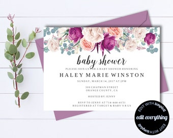Baby Shower Invitation Template Set Rustic Floral Baby Shower - Girl baby shower invitation template