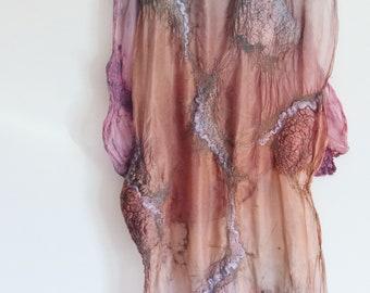 nuno felt shawl, silk wool, natural dyes, pink purple light blue OOAK