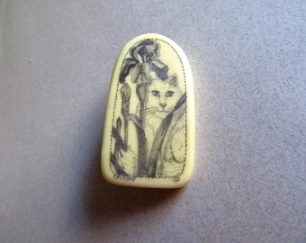 Vintage Cat Pin Brooch Iris Flower Garden Costume Jewelry Cats Kitty Vet Gift MoonlightMartini