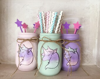 Painted Mason Jars. Unicorns. Party Decor. Unicorn Party. Girls room. Vases. Mason Jars. Birthday