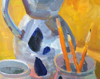 Acrylic Painting on stretched canvas 9x12 inches SFA Original Still Life Painting Williamsburg Pottery