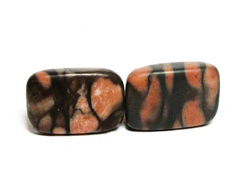 "Camo cabochons, camo marble cabs, brown orange,wire wrapping,  jewelry making, jewelry supplies, ""Bam Bam"""