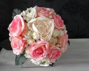 pink silk wedding bouquet rose bouquet ivory bouquet brides bouquet wedding bouquet bridesmaid bouquet silk rosebuds