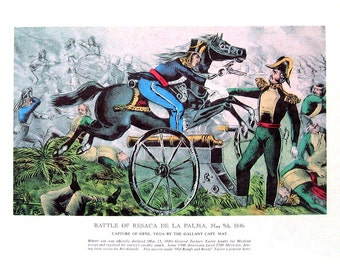 Currier and Ives Print - Battle of Resaca de la Palma May 1846 - 1968 Vintage Book Page - 12 x 9