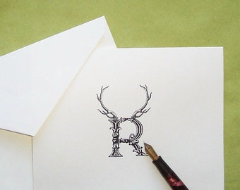 Personalized Antler Letter Stag, Elk Deer Notecards Note Cards Stationery Woodland Forest Lodge Mountain Ivory or Kraft Set of 10 Rustic