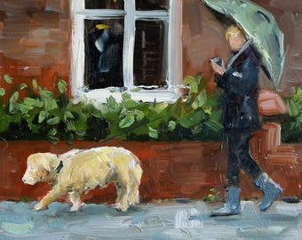 """small oil painting, """"dogwalking in the rain"""", oil on panel, 6x6 inch"""