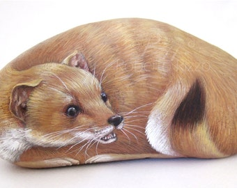 Ermine Hand Painted Rock | Stone Art by Roberto Rizzo