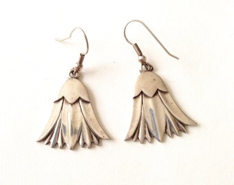 Sterling Silver Bell Flower Dangle Earrings