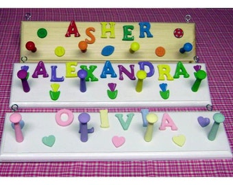 Personalized 4 peg peg rack for children