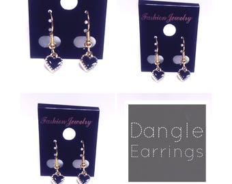 Dainty Black and Gold Heart Dangle Earrings | Black and Gold Heart | Lilly Rose