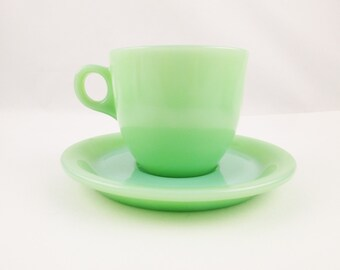 Jadeite Green - Tall 'Ring Handle' Cup on a 'Restaurant Ware' Saucer - Collectible Heavy Saucer and Cafe Cup/Mug - Fun Stuff