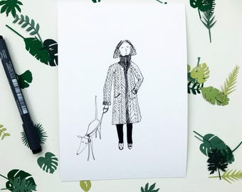 Dog gift, dog print, dog art, girl walking dog, dog illustration, dog drawing, made by harriet, dog walk picture, dog present, doggo art,