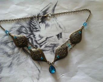 """""""Ed"""" Blue Lagoon and oriental style necklace"""